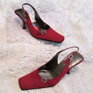 Red Slingback Cloth Shoes Rhinestone size 8.5 NEW